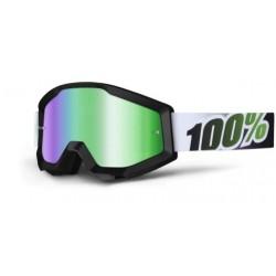 Brýle MX/DH 100% STRATA Black Lime - zelená zrcadlová skla