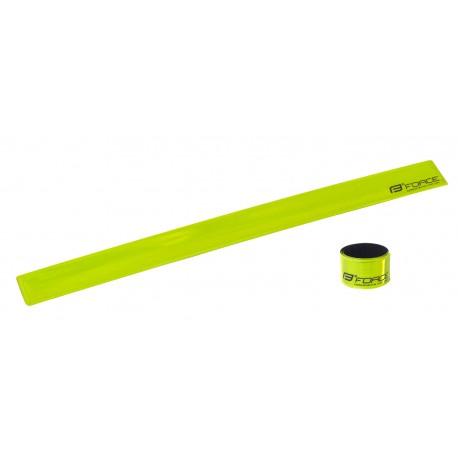 Reflexní pásek FORCE samonavíjecí 38 cm, žlutý